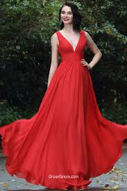 simple red deep v neck sleeveless a line long chiffon prom dress