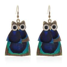 peacock feather earrings s bohemian style owl dangle earrings with indian peacock