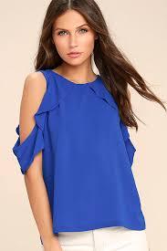 royal blue blouse top royal blue top the shoulder top blouse 37 00