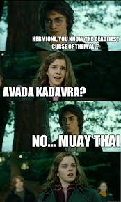 Muay Thai Memes - hermione you know the deadliest curse of them all avada kadavra