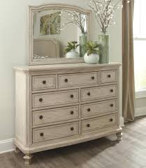 Mirror Chest Of Drawers Signature Design By Ashley Demarlos Vintage Parchment White Finish
