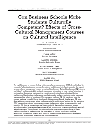 can business schools make students culturally competent effects
