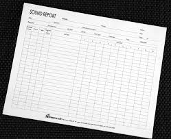 sound report template log sheets sound reports header id