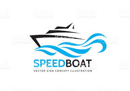 abstract speed boat and blue sea waves vector business logo