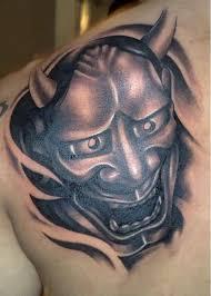 hannya mask tattoo black and grey mind blowing hannya mask tattoo on back shoulder tattooshunter com