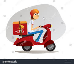 tricycle cartoon pizza delivery boy ride on scooter stock vector 650404618