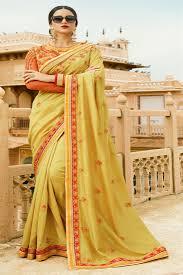 golden orange color sakshi softy silk fabric golden orange orange color saree