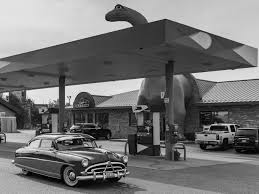 old cars black and white vintage car and dinosaur gas station u2013 duncan co