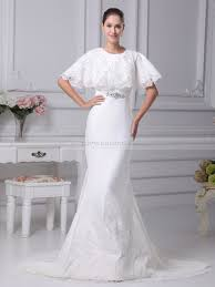 lace top wedding dress mermaid satin wedding gown with batwing style lace top