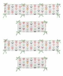 grey coral and mint woodland arrow baby crib bumper pad by sweet