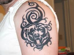 black ink chicago bears tattoo on left shoulder pretty sick