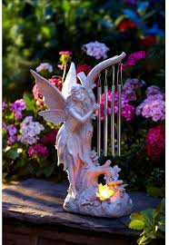 solar powered led pixie light glowing butterfly chime outdoor