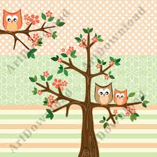 tree with baby owl and owl clip owl clip and digital