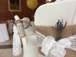 Vintage Wedding Chair Sashes Rustic Hessian Chair Covers With A Delicate Lace Sash And A Sprig