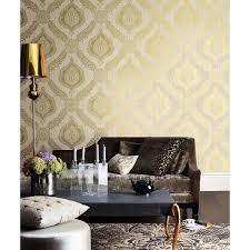 Purple Damask Wallpaper by Beacon House Sebastion Gold Damask Wallpaper 450 67359 The Home