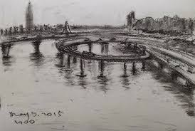 london bridge pencil shaded landscape landscape painting in pencil