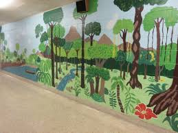 100 objects from lms lms spirit flyer 6th grade wall mural by madison marchese and natalie winger the rainforest painting started out as blue and green paper glued on the wall but now it is a