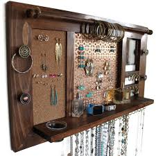 jewelry organizer deluxe wooden wall hanging jewelry shelf with