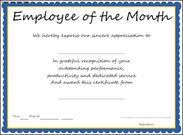 Employee Announcement Template Award Templates Employee Of The Month Certificate Template Sample
