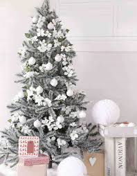 blue silver and white tree with decorations
