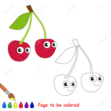 red cherry to be colored coloring book to educate kids learn