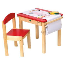 red kids art table activity play chair desk craft playroom small