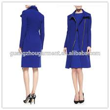 2014 winter women coat dress royal blue asymmetric zip long coat