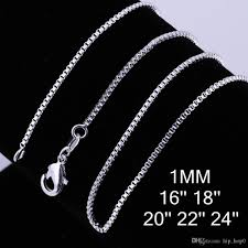 box chain necklace silver images 2018 high quality classic jewelry 1mm box chain fashion box with jpg