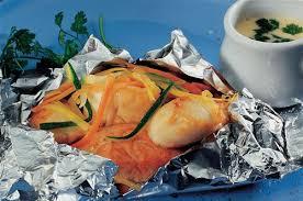 cuisine papillote duo de produits de la mer en papillote