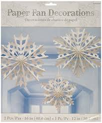 amscan winter snowflake paper fan