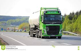 volvo truck 2016 lime green volvo fh tank truck on freeway editorial photography