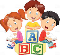 child sitting clipart cartoon children sitting on alphabet blocks and reading stock