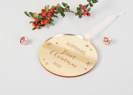 Baby S First Christmas Photo Bauble by Baby U0027s First Christmas Personalised Gold Bauble Norma U0026dorothy