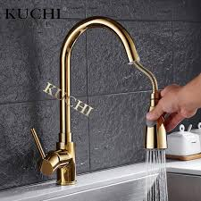 kitchen water faucets kuchi 8055a kitchen faucet rotatable pull out gold faucet
