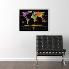 Map Of The World Poster by Deluxe Black Scratch Map Of The World Poster 80 X 60cm