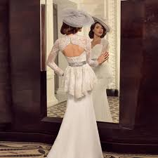 retro wedding dress vintage peplum lace sleeves mermaid wedding dresses retro
