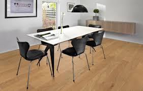 Kahrs Laminate Flooring Flooring Mid Century White Desk With Mid Century Black Chairs On