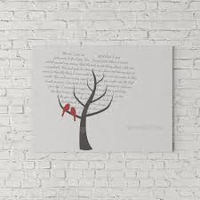 wedding gift nz wedding vow and lyrics print birds in a tree be my guest