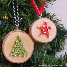 wood slice string ornament happy brown house