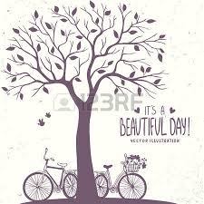 stylish card with silhouette tree and two bicycle vector