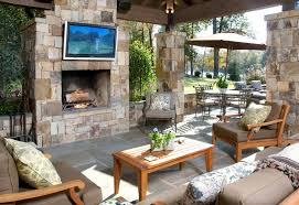 Build Outdoor Bar Table by Outdoor Living Room With Fireplace White Tile Floor Rattan Varnish