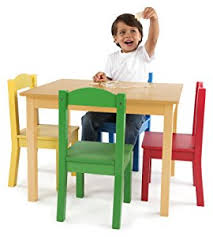 amazon com tot tutors kids wood table and 4 chairs set natural