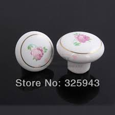 Porcelain Kitchen Cabinet Knobs - 2pcs 38mm country style garden white flower red kitchen cabinet