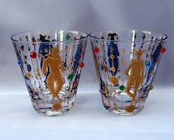 vintage cocktail glasses vintage 2 culver jester glasses mardi gras tumblers jeweled