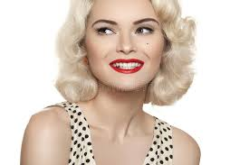 fashioned hair american retro style beautiful laughing woman model with old
