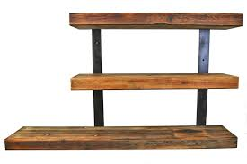 reclaimed wood wall mounted shelving unit with metal mount