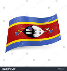 Blue Yellow And Black Flag National Flag Swaziland Blackandwhite Shield Spears Stock Vector