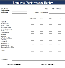 simple employee performance review template excel and word excel tmp