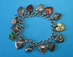 sterling silver hearts bracelet images Vintage sterling silver puffy heart charm bracelet rare charms jpg