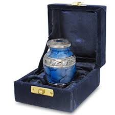 small urns for human ashes forever remembered blue small mini cremation keepsake